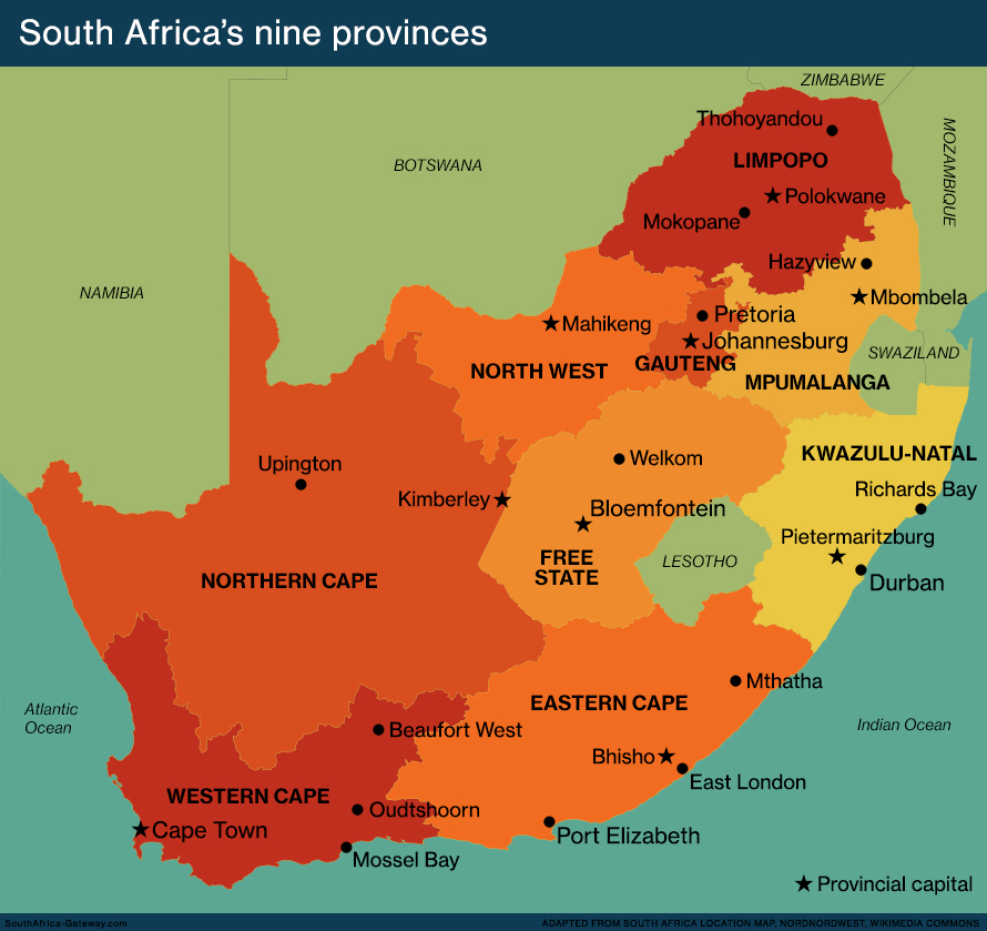Map of South Africa's nine provinces since 1996, showing provincial capitals and major cities.
