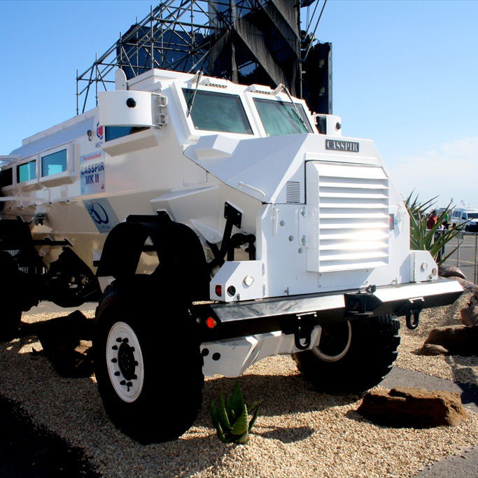 A Casspir armoured vehicle on display at Ysterplaat Air Force Base in Cape Town. (Bob Adams / CC BY-SA 2.0)