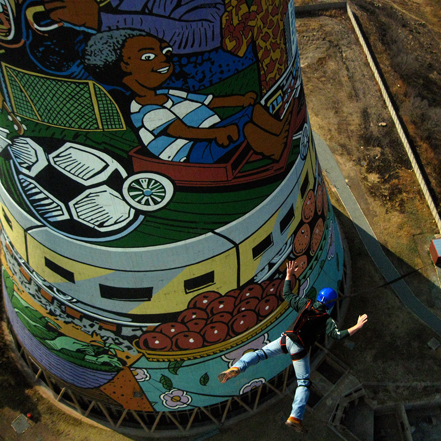 Base jumping off the landmark Orlando Towers in Soweto. (Annette Lyn O'Neil/CC BY NC-ND)