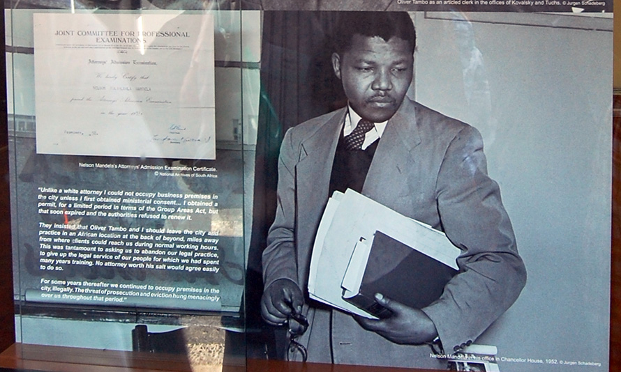 An exhibit at today's Chancellor House Museum shows the famous 1952 photograph by Jurgen Schadeberg of Nelson Mandela inside the law offices he shared with Oliver Tambo.