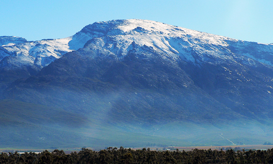 Winter snow on the mountains surrounding the Hex River Valley in the Western Cape. Mountain snowfall generally means freezing conditions across the rest of the country.