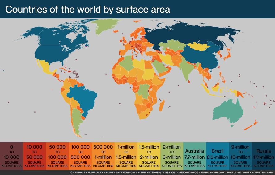 Colour-coded map of the world showing countries by surface area.