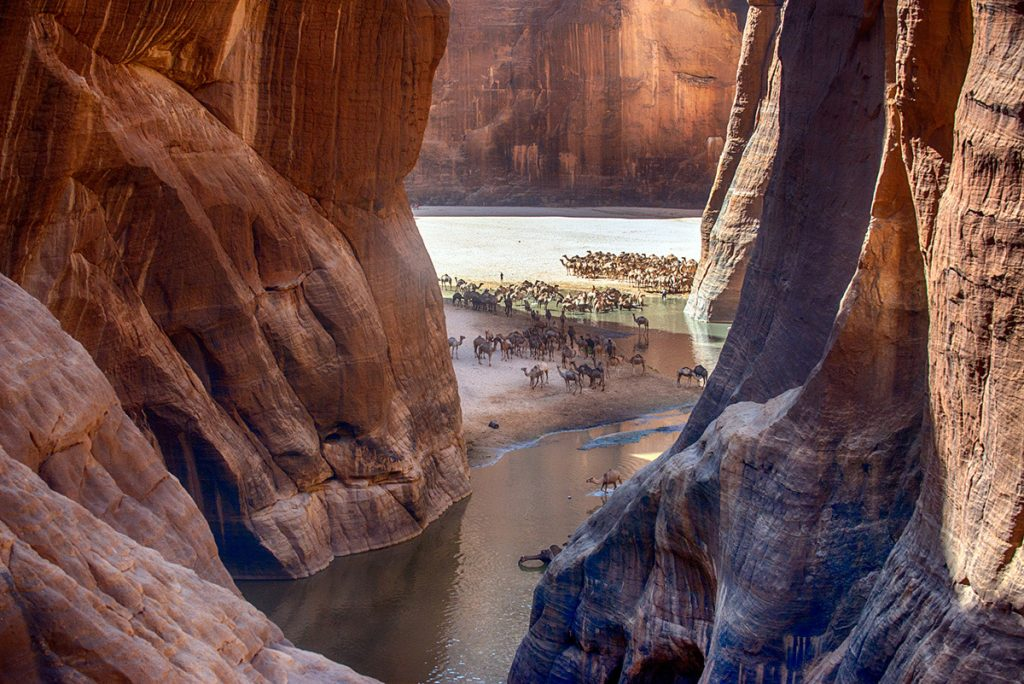 Africa - Chad - Guelta Archei on the Ennedi Plateau, a sandstone bulwark in the middle of the Sahara