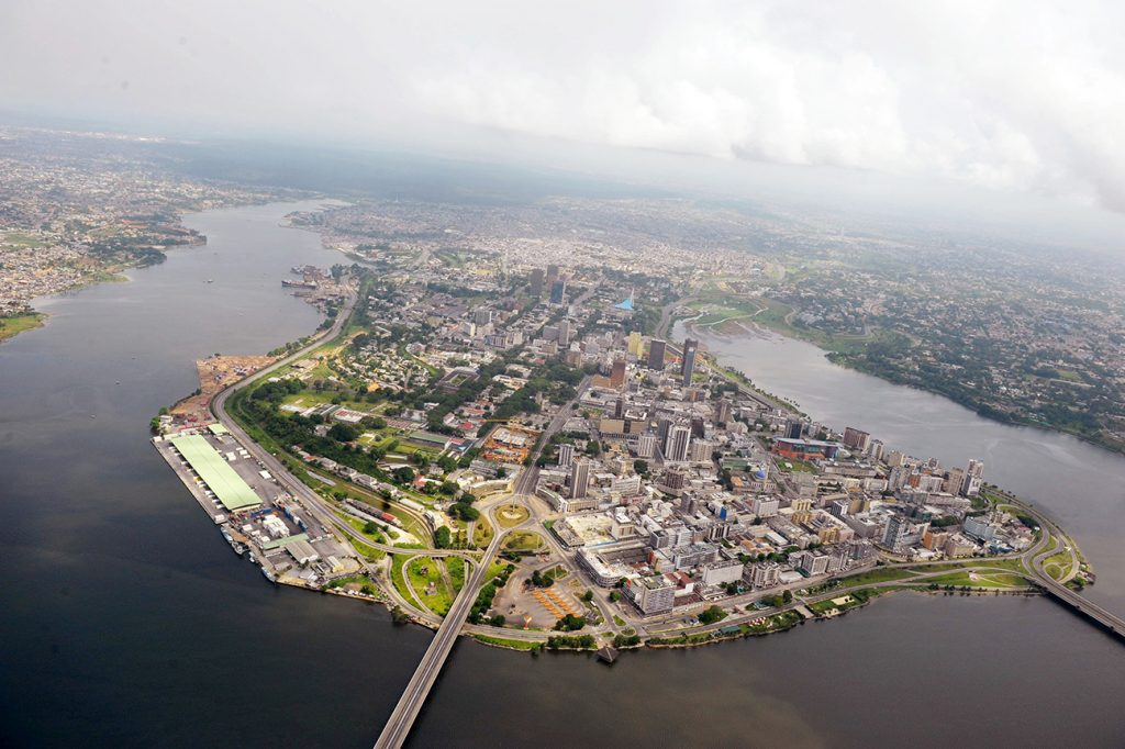 Africa - An aerial view of the district of Plateau in the Côte d'Ivoire capital of Abidjan