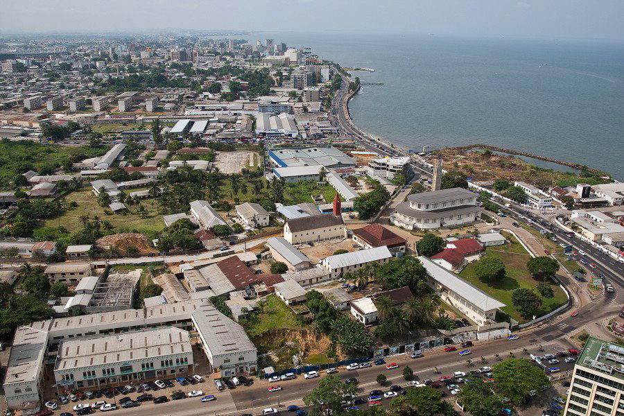 An aerial view of the coastal city of Libreville, the capital of Gabon. Libreville was established by French colonialists in 1849 and settled with freed slaves.