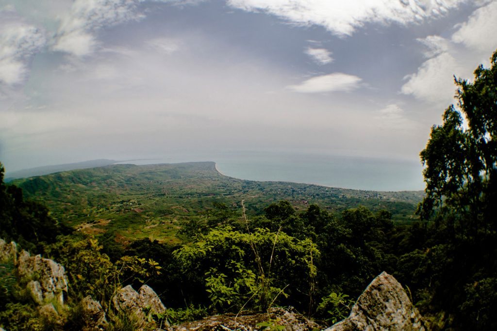 Africa - A sense of the size of Lake Malawi, in a view from the road to the town of Livingstonia in the north of Malawi