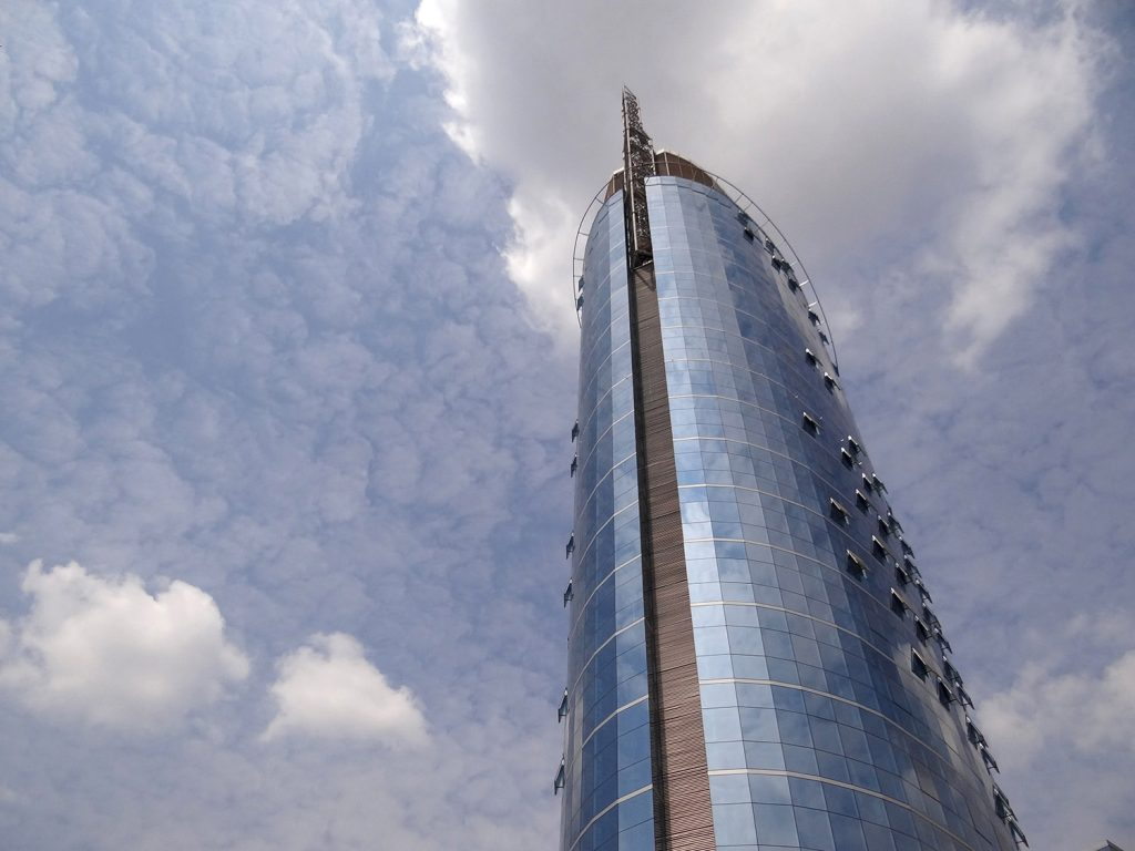 Africa - Kigali City Tower on Avenue du Commerce in the central business district of Kigali, the capital and largest city of Rwanda.