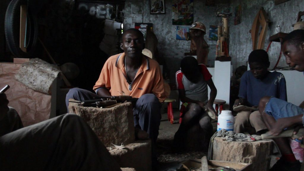 Africa - Unnamed craftsmen in their workshop on São Tomé. São Tomé is the larger, southern island in the country of São Tomé and Príncipe.