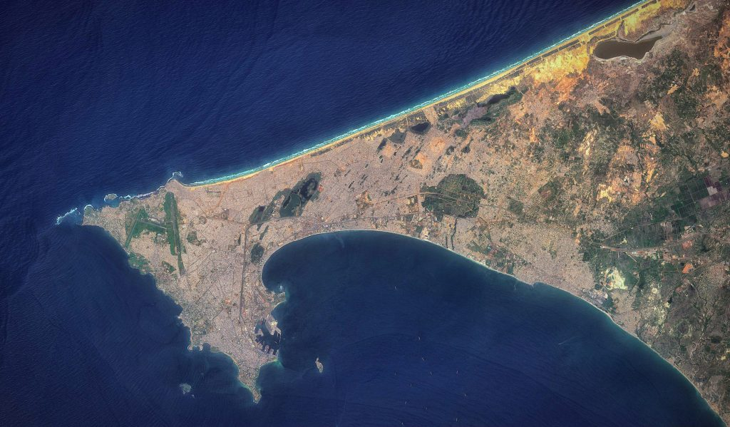 A satellite view of Senegal's Dakar peninsula, the westernmost point of mainland Africa.