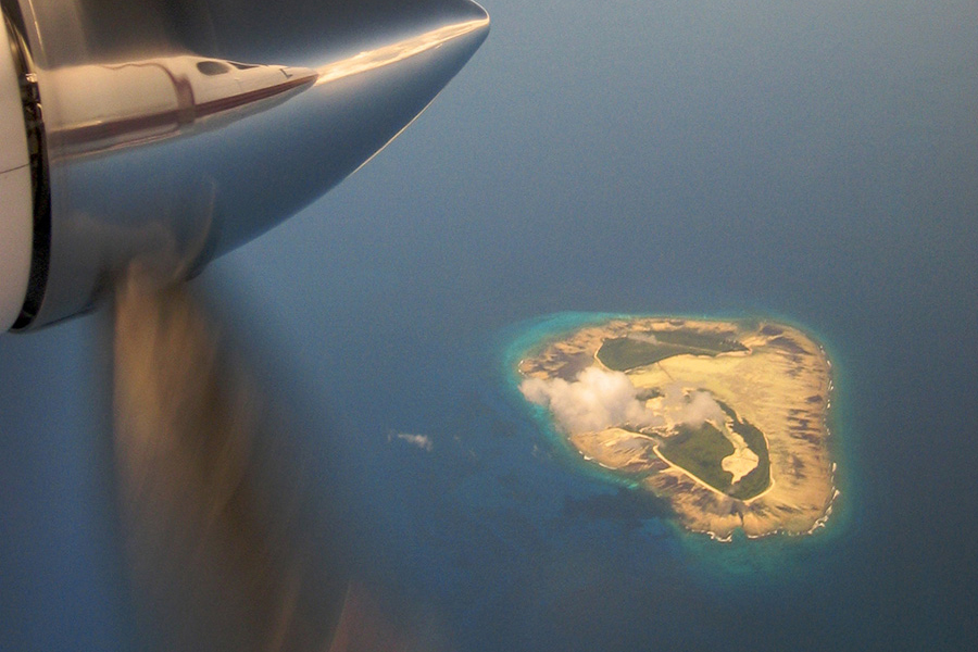 Africa - View from an airplane of the Outer Islands of the Seychelles archipelago in the Indian Ocean.