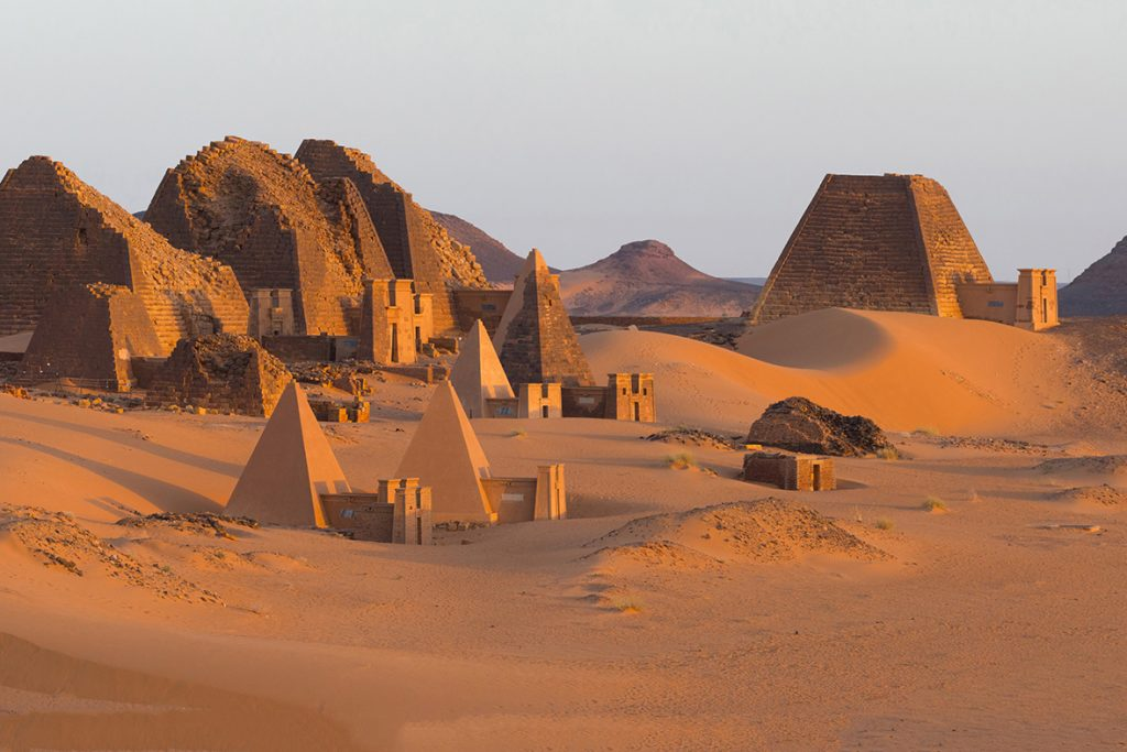 The pyramids of Kushite rulers at Meroë, an ancient city on the banks of the Nile River in eastern Sudan. Meroë was the capital of the Kingdom of Kush, one of the earliest and largest states in precolonial sub-Saharan Africa, which flourished from around 1,000 BCE to 350 CE.