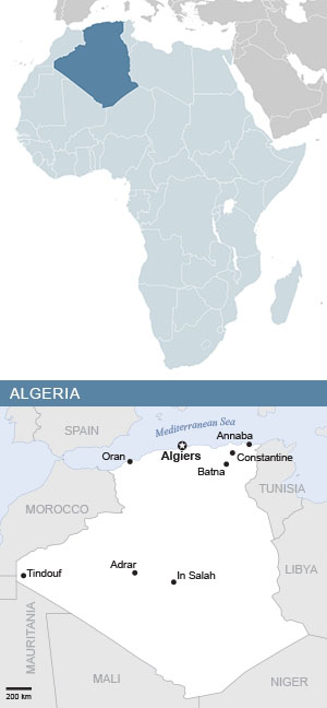 Map of Algeria and Africa
