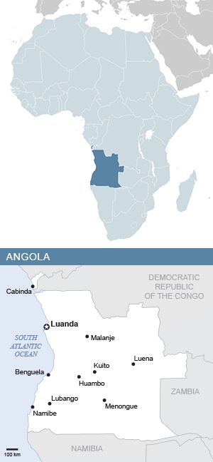 Map of Angola and Africa