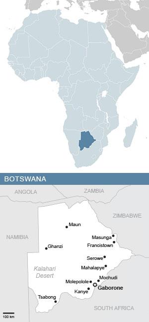 Map of Botswana and Africa