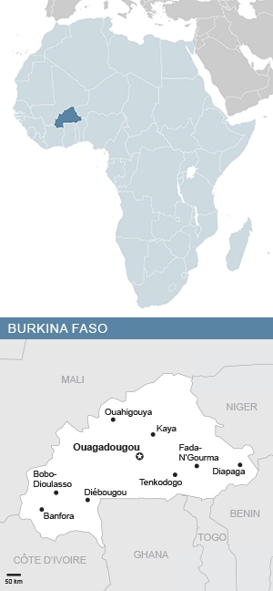 Map of Burkina Faso and Africa