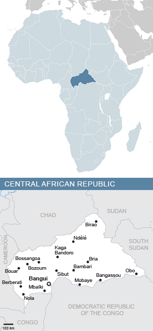 Map of Central African Republic and Africa