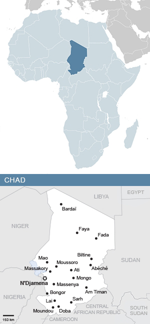 Map of Chad and Africa