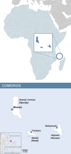 Map of the Comoros and Africa