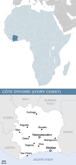 Map of Côte d'Ivoire (Ivory Coast) and Africa