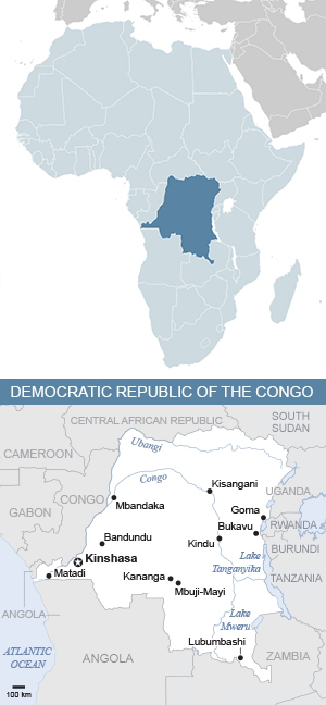 Map of the Democratic Republic of the Congo and Africa