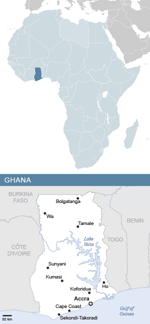 Map of Ghana and Africa