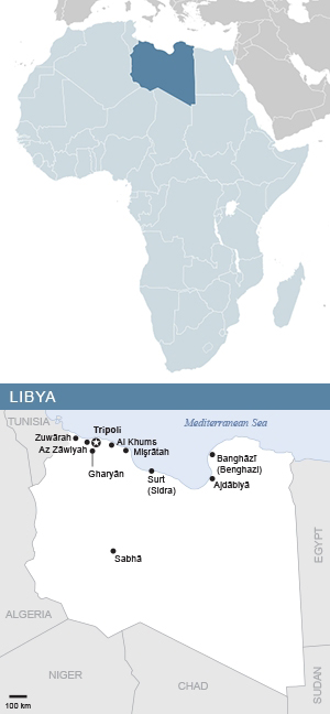 Map of Libya and Africa