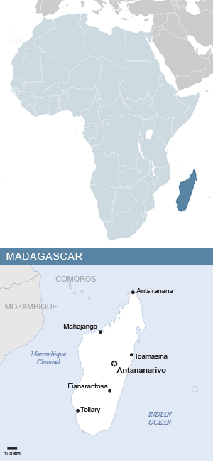 Map of Madagascar and Africa