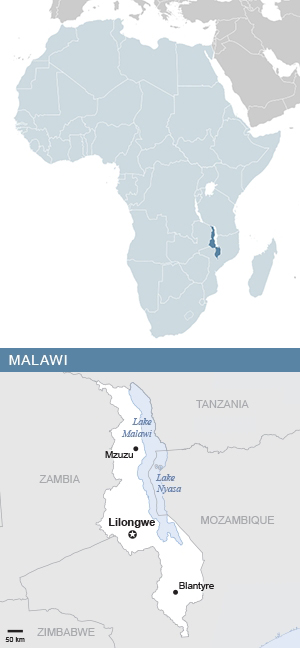 Map of Malawi and Africa