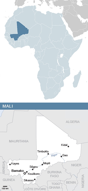 Map of Mali and Africa