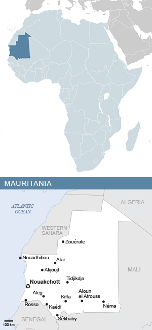 Map of Mauritania and Africa