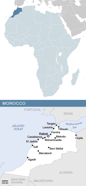 Map of Morocco and Africa