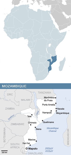 Map of Mozambique and Africa