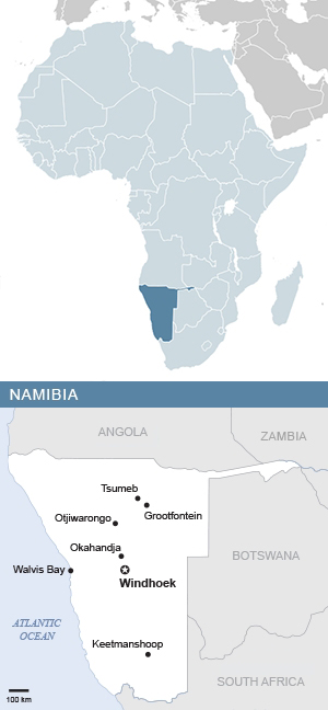 Map of Namibia and Africa