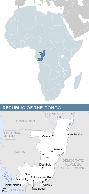 Map of the Republic of the Congo and Africa