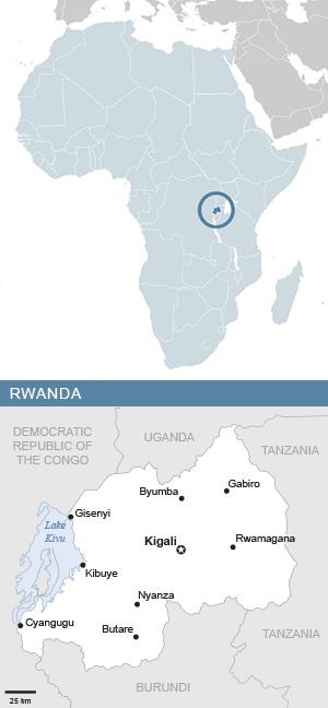 Map of Rwanda and Africa