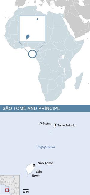 Map of São Tomé et Príncipe and Africa