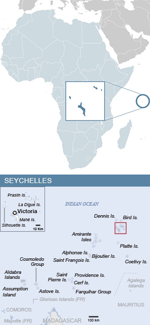 Map of Seychelles and Africa