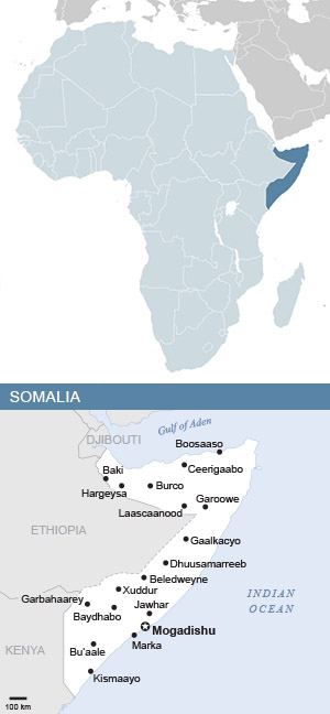 Map of Somalia and Africa