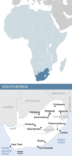 Map of South Africa and Africa