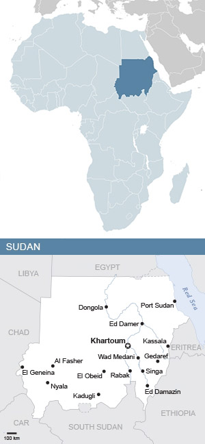 Map of Sudan and Africa