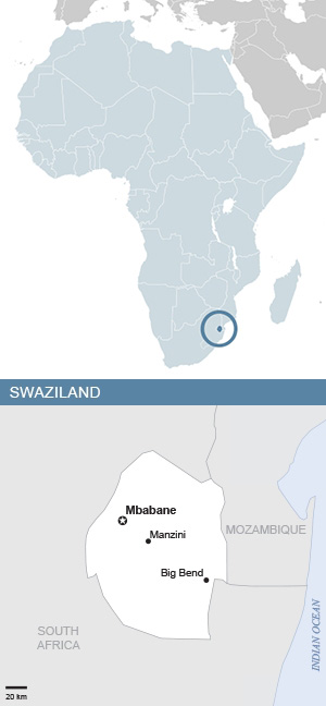 Map of Swaziland and Africa