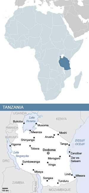 Map of Tanzania and Africa