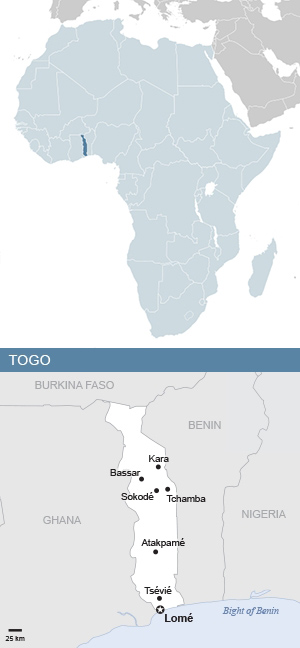 Map of Togo and Africa
