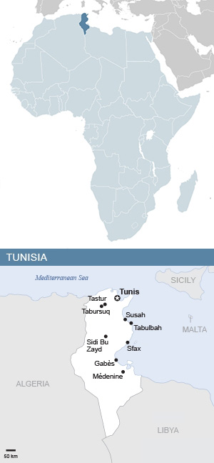 Map of Tunisia and Africa