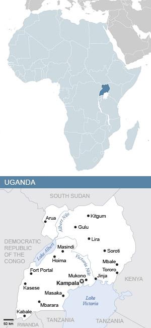 Map of Uganda and Africa