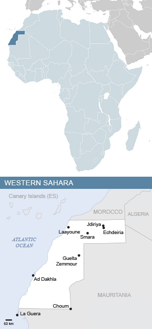 Map of Western Sahara and Africa