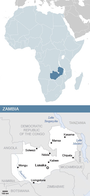 Map of Zambia and Africa