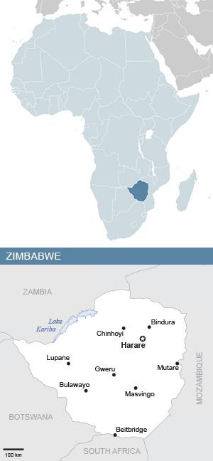 Map of Zimbabwe and Africa