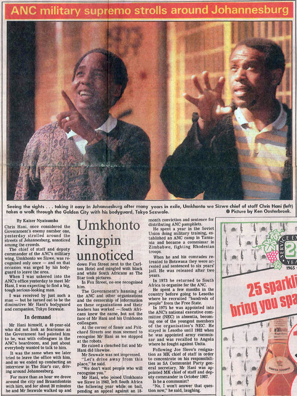 On 20 June 1990 Tokyo Sexwale (right) showed Chris Hani, recently returned from exile, around Johannesburg. Hani was murdered less than three years later.