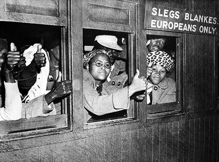 In one of many acts of protest during the Defiance Campaign of 1952 a group of black South Africans took over a train compartment reserved for whites and rode into Cape Town, shouting the slogan